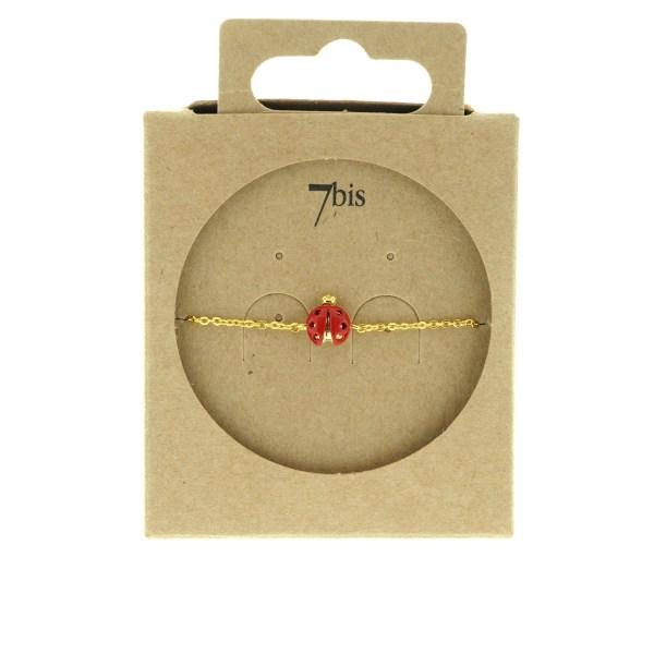 329266DOR Bracelet Coccinelle Or Chance Vernis Rouge