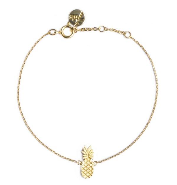 337345DOR Bracelet Ananas Doré Fruit-plat Exotique