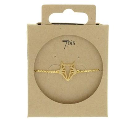 338257DOR Bracelet Renard Tête-animal Doré Géométrique