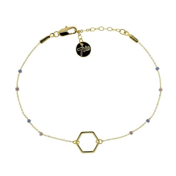 371002PAR Bracelet Hexagone Doré Chaine Fine Perles