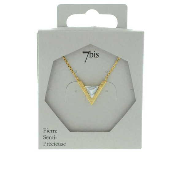 123922BLADOR Collier Triangle Allongé Doré Blanc Pierre Semi-précieuse Howlite