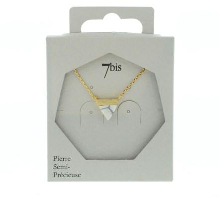 123924BLADOR Collier Triangle Doré Blanc Pierre Semi-précieuse Howlite