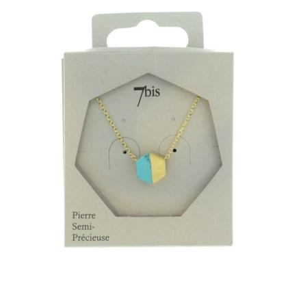 170252TURDOR Collier Hexagone Turquoise Et Doré Moitié Métal Et Pierre