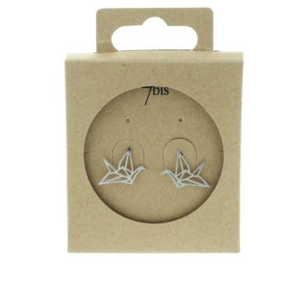 238183ARG Boucles D'oreilles Grue Argenté Animal Origami
