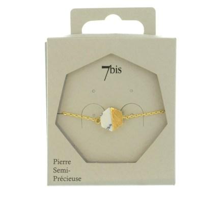 370252BLADOR Bracelet Hexagone Marbré Et Doré Moitié Métal Et Pierre Howlite