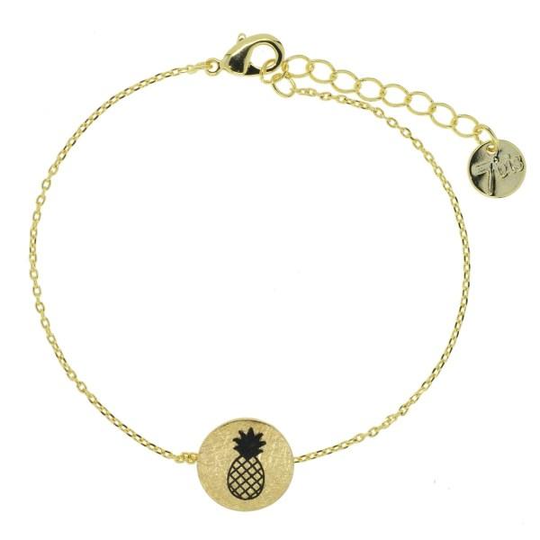 370549DOR Bracelet Ananas Doré Pendentif Imprimé