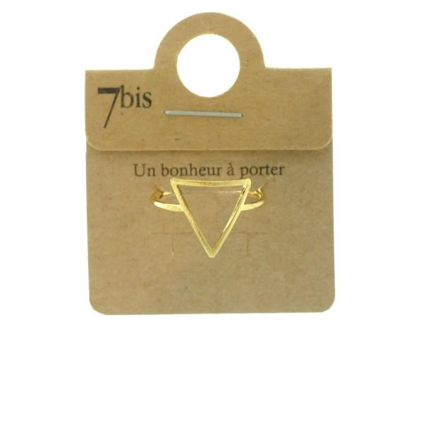 870075DOR Bague Triangle Doré Évidé Géométrique