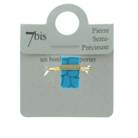 870612TURDOR Bague Pierre Plate Turquoise Rectangulaire Pierre Semi-précieuse