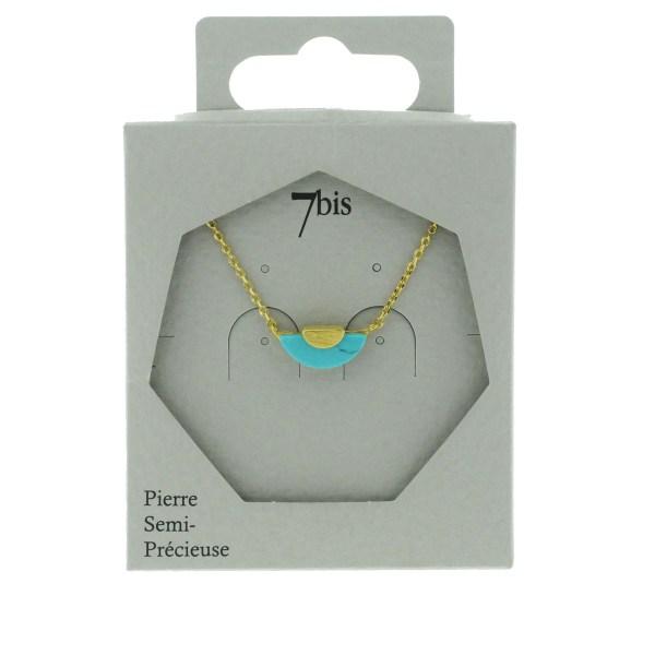 170063TURDOR Collier Arc De Cercle Sur Demi Cercle Turquoise Doré Pierre Métal Turquoise
