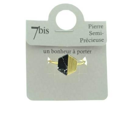 870252NOIDOR Bague Hexagone Noir Doré Métal Et Pierre Howlite