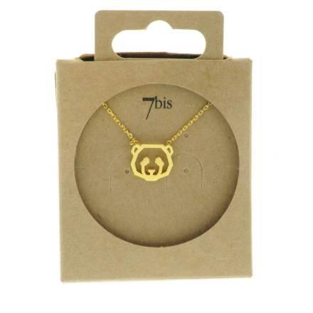138256DOR Collier Panda Tête-animal Doré Géométrique