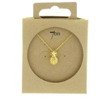 138735DOR Collier Ananas Doré Fruit-relief Ludique