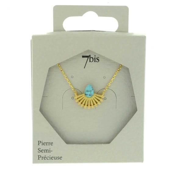 170065TURDOR Collier Goutte Doré Silhouette Paon Turquoise