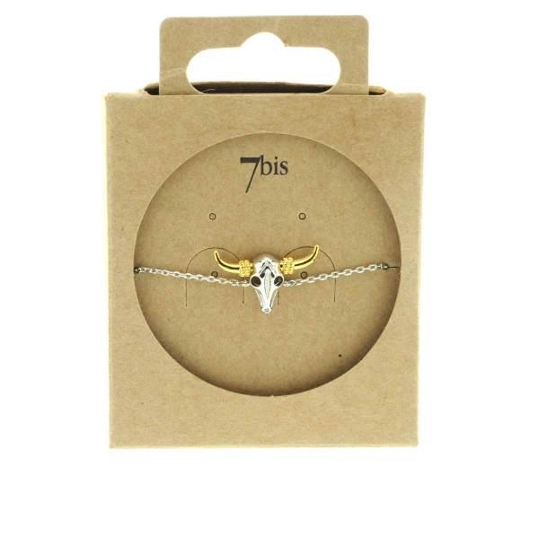 323801ARG Bracelet Tete-de-buffle Argent Indien Miniature