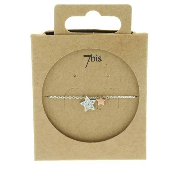129416ARG Collier Etoile-double Argent Zircon Romantique