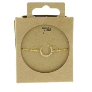 338126DOR Bracelet Croissant De Lune Doré Strass Zircon