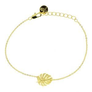 338566DOR Bracelet Grosse Feuille Doré Tropicale Gravé