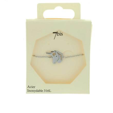 370223ARGINX Bracelet Licorne Argenté Reperçé Acier Inoxydable
