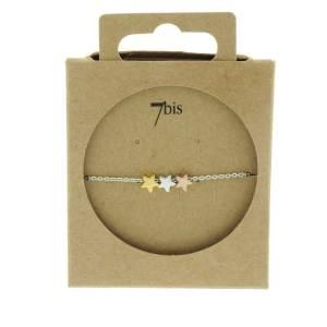 370458ARG Bracelet Étoiles Doré Rosé Argenté Tricolores Poétique