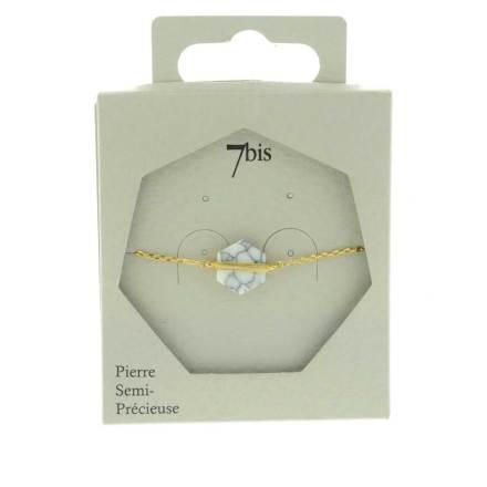 370615BLADOR Bracelet Pierre Hexagone Marbré Barre Doré Howlite