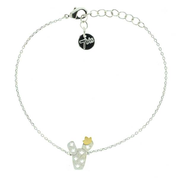 371030ARG Bracelet Cactus Bicolore Argenté Doré Fleur Repercé