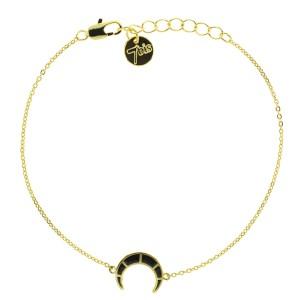 371113NOIDOR Bracelet Croissant De Lune Noir Doré Hachuré Émaillé