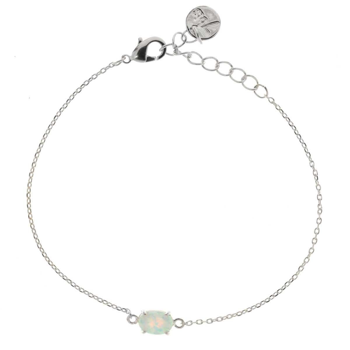 code promo c8a3a 1748d Bracelet Opale Ovale Blanche Serti Griffe Argenté