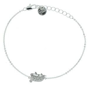 371167ARG Bracelet Koala Argenté Gravé Plat