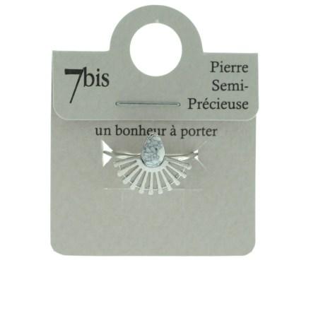870065BLAARG Bague Goutte Blanche Silhouette Paon Howlite