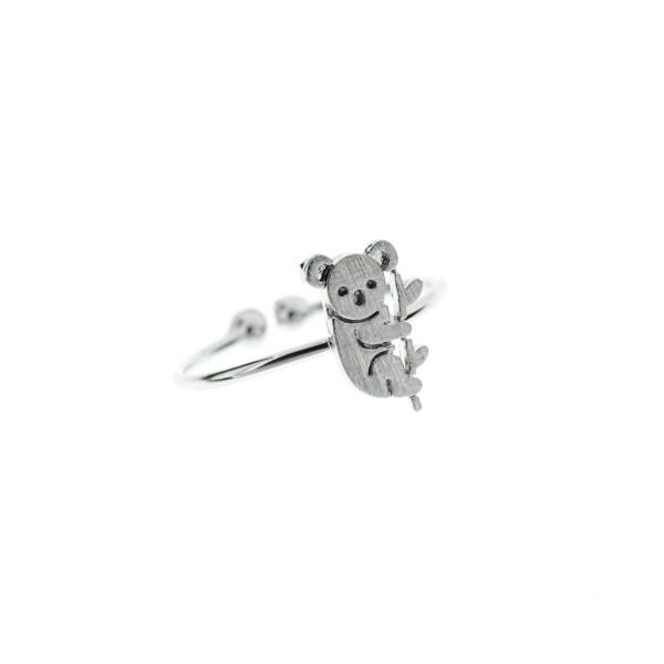 871167ARG Bague Koala Argenté Gravé Plat