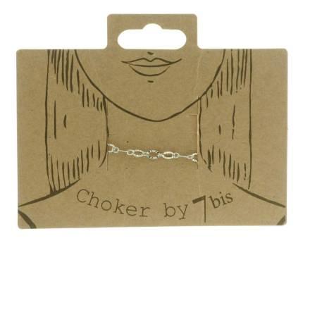 171026ARG Choker Petites Mailles Ovales Argenté Striées 28cm