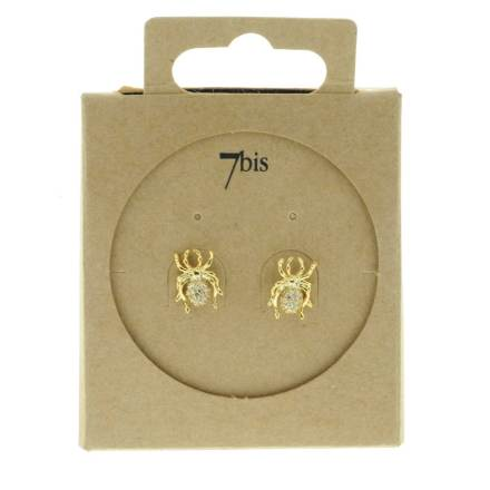 229458DOR Boucles D'oreilles Araignée Doré Design Joaillarie Strass