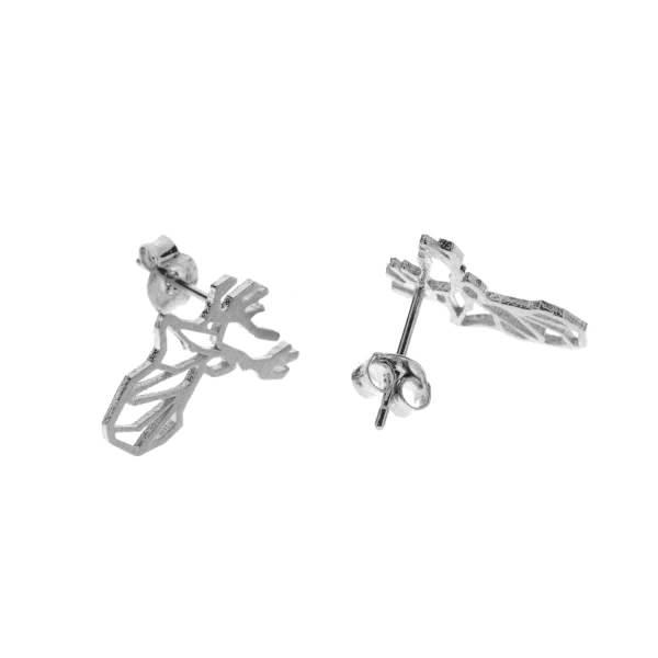 237695ARG Boucles D'oreilles Cerf Argenté Tête-animal Géométrique