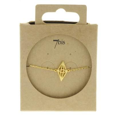 337552DOR Bracelet Losange Perspective Doré Double Pyramide Géométrique