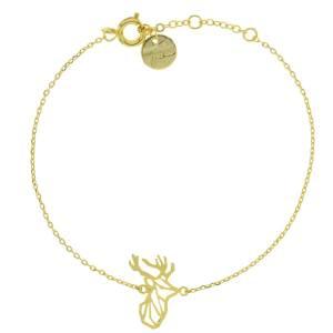 337695DOR Bracelet Cerf Doré Tête-animal Géométrique