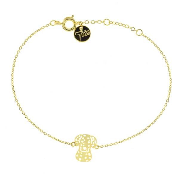 370602DOR Bracelet Chien Dalmatien Doré Dessin Reperçé