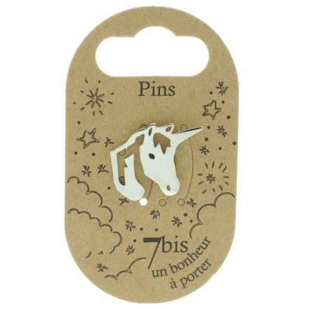 970982ARG Pin's Licorne Argenté Design Reperçé