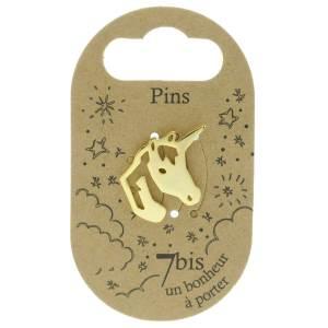 970982DOR Pin's Licorne Doré Design Reperçé
