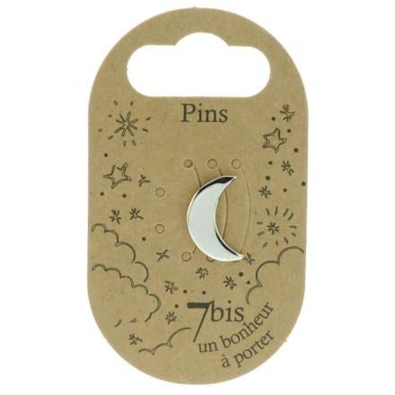 970985ARG Pin's Lune Argenté Design Plein
