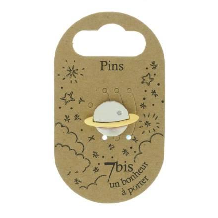 970986ARG Pin's Planète Bicolore Argenté Doré Design Strass