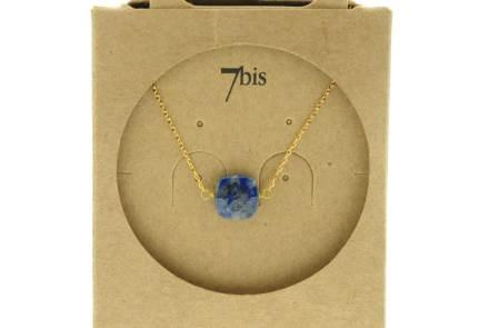 170570BLE Collier Pierre Carré Facetté Bleu Doré Chaîne Extra Fine Lapis-lauli