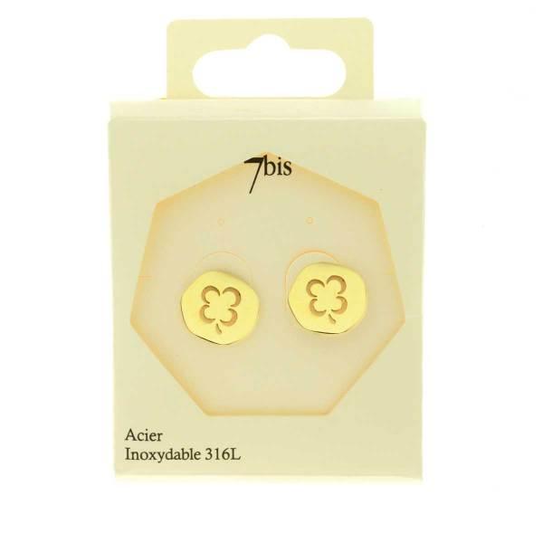 270230DORINX Boucles D'oreilles Trèfle Doré Médaille Acier Inoxydable 316l