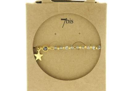 370249GRICLA Bracelet Moitié Chaîne Doré Gris Claire Perle De Verres Facetées Et Petite Étoile
