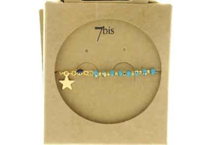 370249TUR Bracelet Moitié Chaîne Doré Turquoise Perle De Verres Facetées Et Petite Étoile