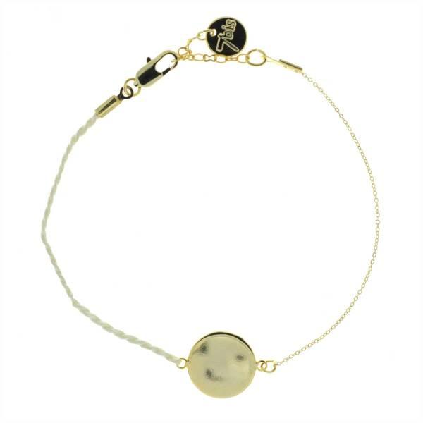 371001PAR Bracelet Pastille Ronde Doré Fil Torsadé Parme