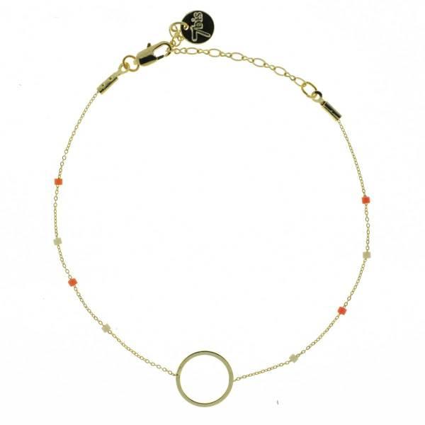 371003ORA Bracelet Anneau Doré Orange Chaîne Fine Perles De Miuki