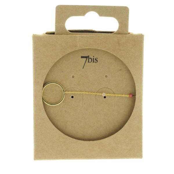 371003ROS Bracelet Anneau Doré Rose Chaîne Fine Perles De Miuki