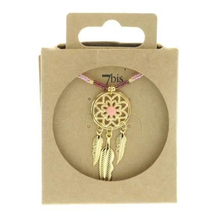 123872FUS Collier Dreamcatch Doré Perles Rocailles Fushia