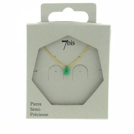 137306VERCLA Collier Extra Fin Vert Claire Goutte Agathe