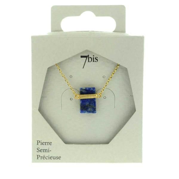 170612BLEDOR Collier Bande De Métal Doré Pierre Semi-précieuse Lapis-lazuli